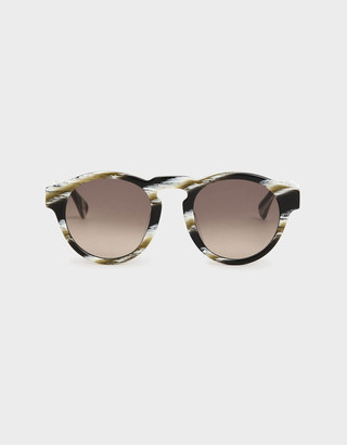 Charles & Keith Striped Round Acetate Sunglasses