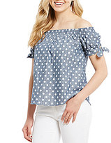 Moa Moa Polka Dot Off-The-Shoulder Tie Sleeve Top