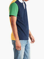 Levi's Modern Made Short Sleeve Colour Block Rugby Shirt, Jelly Bean/Cold/Dress