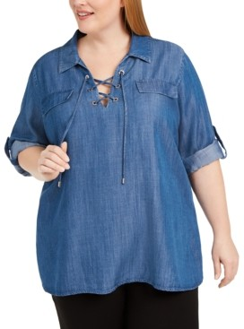 Calvin Klein Plus Size Lace-Up Collared Top