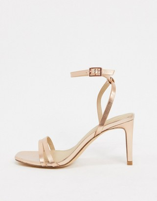 Truffle Collection square toe strappy heeled sandals in rose gold