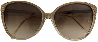 Saint Laurent Beige Plastic Sunglasses