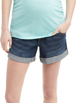Motherhood Indigo Blue Secret Fit Belly Roll Hem Maternity Shorts