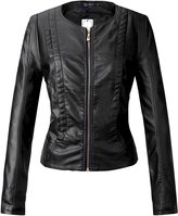 Tanming Women's Slim Zipper Round Collar Color Faux Leather Jacket Red