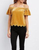 Charlotte Russe Velvet Crochet-Trim Off-The-Shoulder Top