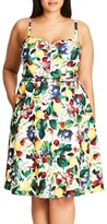 City Chic Plus Size Women's Fruit Salad Fit & Flare Sundress