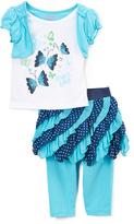 Children's Apparel Network White & Blue Ruffle Tee & Skirt Set- - Toddler