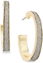 ABS by Allen Schwartz Gold-Tone Crystal Embellished Hoop Earrings