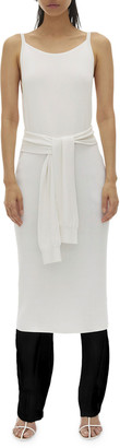 Helmut Lang Tie-Waist Sleeveless Midi Dress