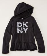 DKNY Black 'DKNY' Flared Ruffle-Hem Pullover Hoodie - Girls