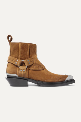 Balenciaga Santiag Suede Ankle Boots - Light brown