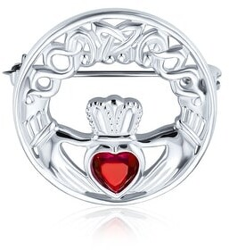 Bling Jewelry Celtic Claddagh Round Circle Brooch Pin Heart 925 Sterling Silver