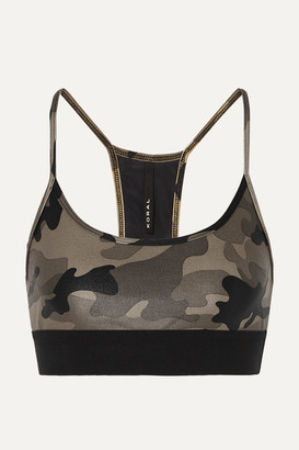 Koral Sweeper Printed Stretch Sports Bra - Army green
