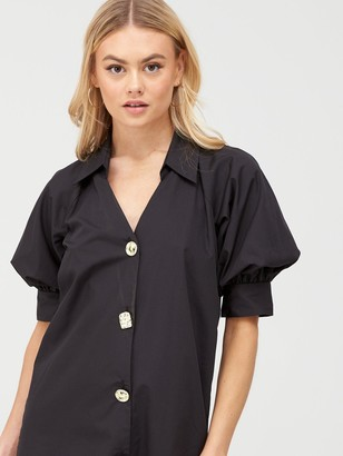 River Island Poplin Shirt Dress - Black