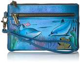 Anuschka Anna By Handpainted Leather Wristlet Organizer Wallet,Playful Dolphin Wallet