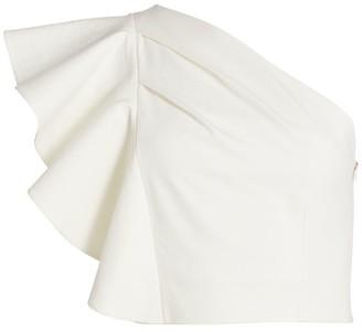 AMUR Patricia Asymmetrical Ruffle Cropped Top