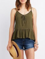 Charlotte Russe Lace-Up Peplum Tank Top