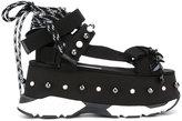 No.21 lace-up sandals - women - Cotton/Leather/rubber - 36