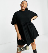 Asos DESIGN Curve super oversized frill sleeve smock dress in black