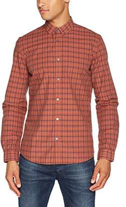 Tom Tailor Men's Floyd Soft Check Shirt Casual (marocco Orange 3454)