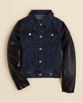 GUESS Girls' Faux Leather Sleeve Denim Jacket - Sizes S-XL