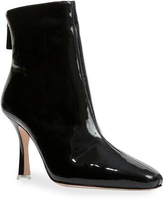 Black Suede Studio Laura Leather Stiletto Zip Booties