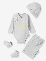 Vertbaudet Newborn Baby Hat + Bodysuit + Ankle Boots & Bag Set