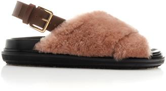 Marni Fussbett Fur and Leather Slingback Sandals