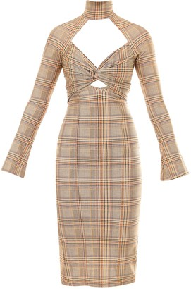 Burberry Checked Cut-Out Dress