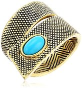House Of Harlow Tanta Crosshatch Gold/Turquoise Ring, Size 7