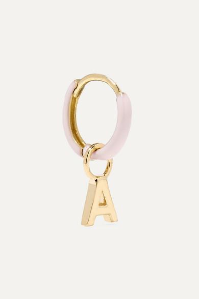 Alison Lou Huggy 14-karat Gold Enamel Hoop Earring - H