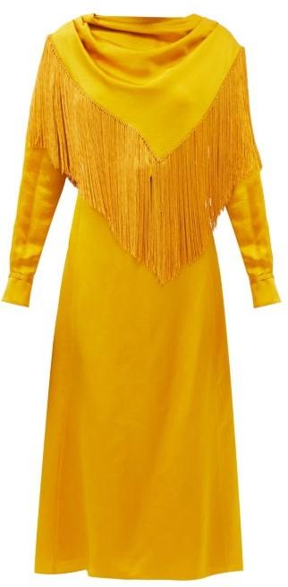 Gabriela Hearst Rouge Fringed Hammered Silk-satin Dress - Yellow