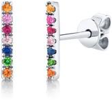 Ron Hami 14K White Gold Multi-Colored Gemstone Bar Stud Earrings