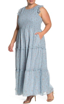 MelloDay Floral Smocked Tiered Dress (Plus Size)