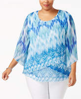 JM Collection Plus Size Printed Tiered Top, Created for Macy's