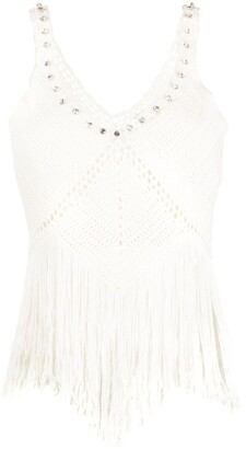Twin-Set Embellished Crochet Peplum Top