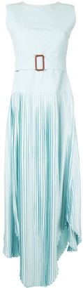 Amal Al Mulla Belted Pleated Skirt Midi Dress