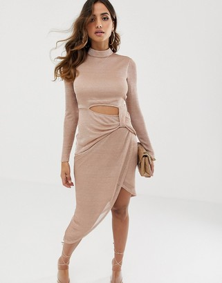 Asos Design DESIGN high neck long sleeve open back pencil dress in metallic chainmail-Pink