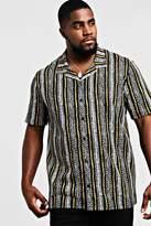 BoohooMAN Big & Tall Revere Collared Stripe Shirt