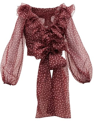 Dolce & Gabbana Polka Dot Silk-organza Top - Burgundy Multi