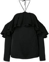 Emilio Pucci cold shoulder frill top - women - Silk/Rayon - 38