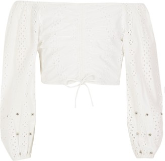 River Island Girls White broderie ruched bardot top