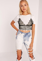 Missguided Sheer Lace Bralet Overlay Crop Top Mono
