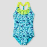 Xhilaration Girls' One-Piece Swimsuit Blue