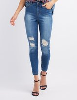 Charlotte Russe Cello Stamped Destroyed Skinny Jeans