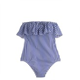 J.Crew Ruffle bandeau one-piece swimsuit in Italian seersucker