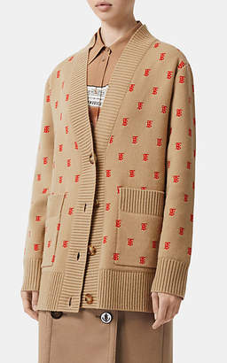Burberry Women's TB Logo V-Neck Cardigan - Tan Pat.