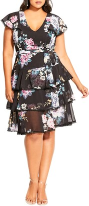 City Chic Summer Blooms Tiered Ruffle Dress
