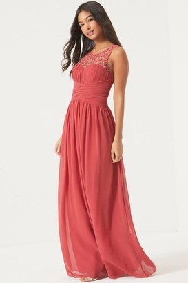 Little Mistress Grace Terracotta Embellished Neck Maxi Dress