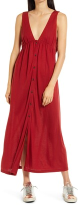 Ninety Percent Brushed V-Neck Midi Dress
